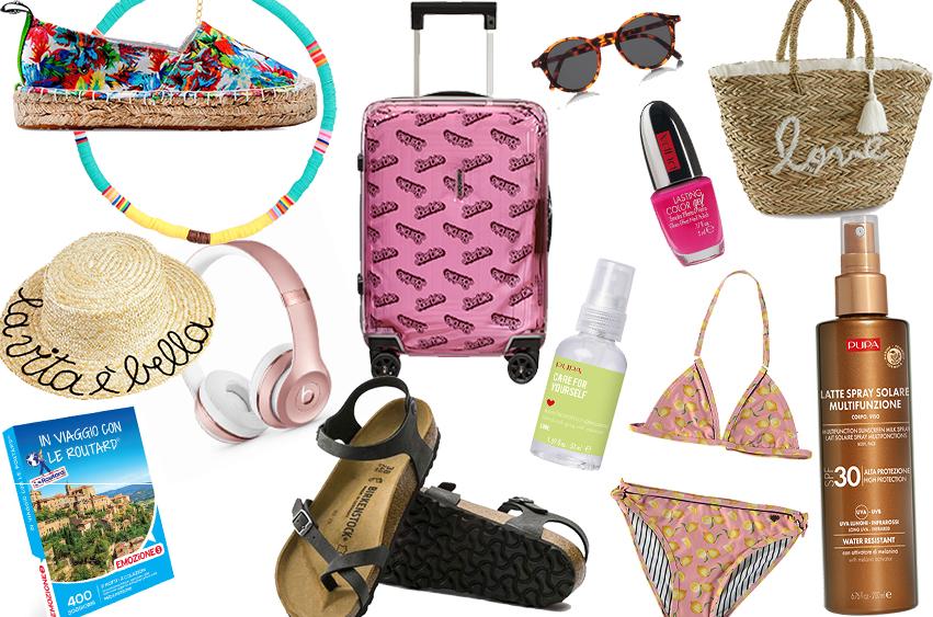 collage immagini per valigia